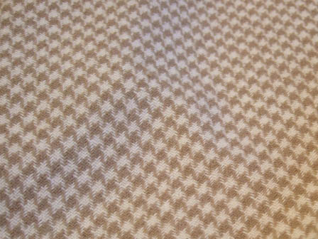 Cream and Tan Houndstooth Wool Fabric