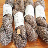 HandSpun Wool Yarn- Brown/Gray/White